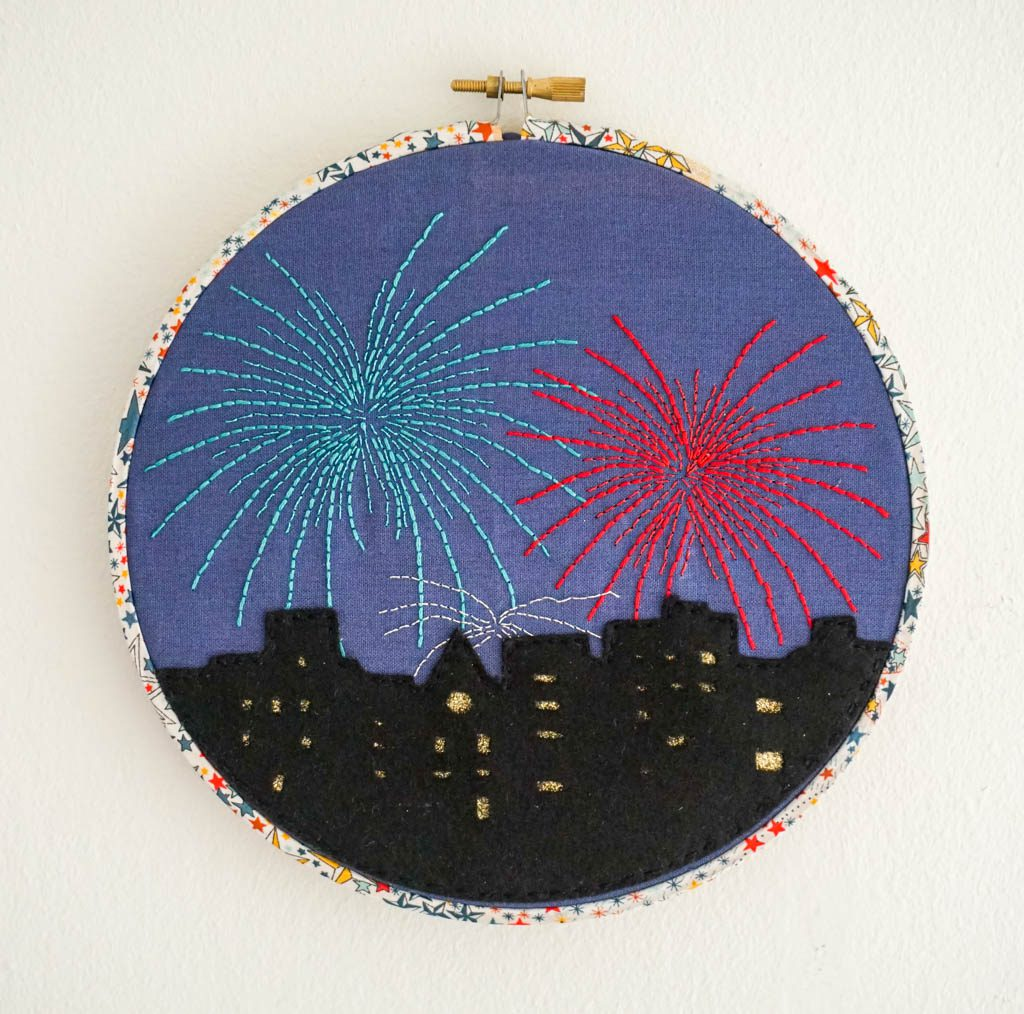 Fireworks in the City Hoop Art