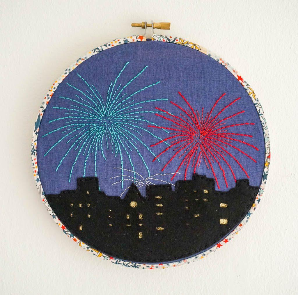 Fireworks in the City Hoop Art