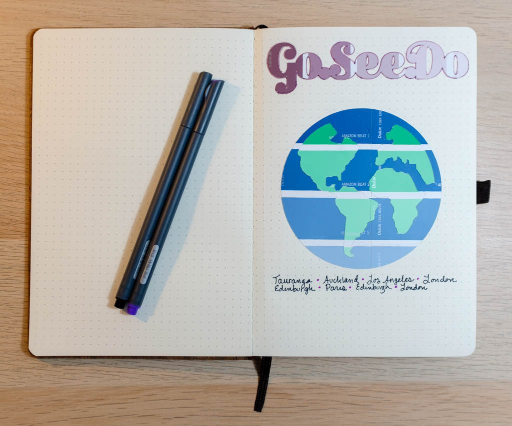 Go See Do Bullet Journal Page