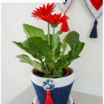Red White and Blue Decorative Garden Pot