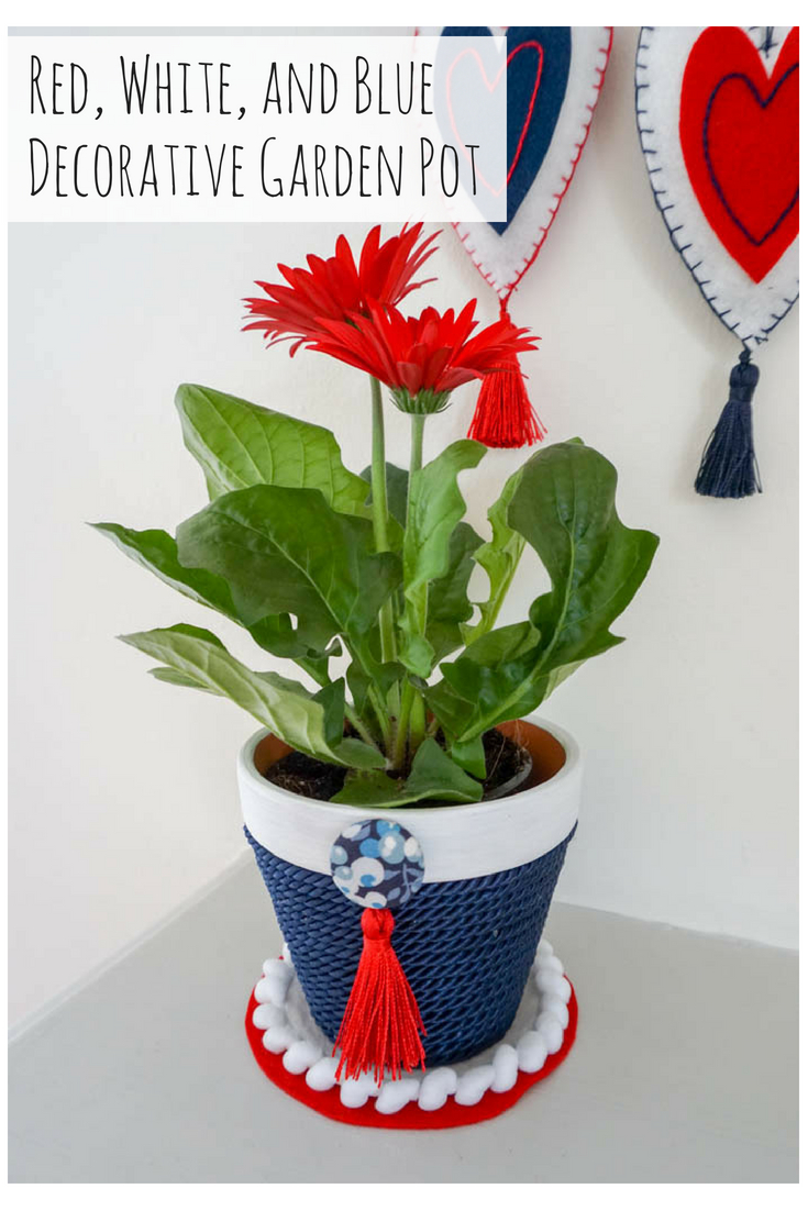 Red, White, and Blue Decorative Garden Pot