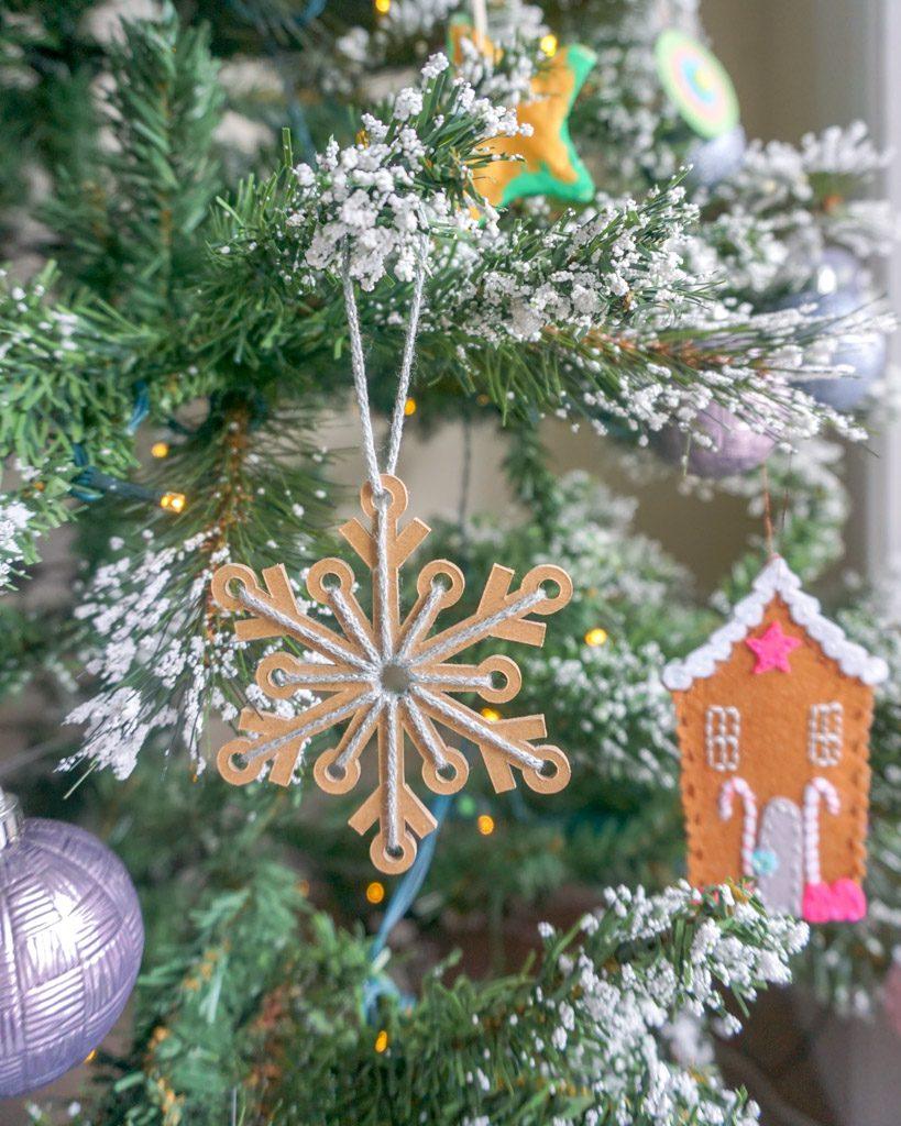 Yarn-Laced Snowflake Ornament