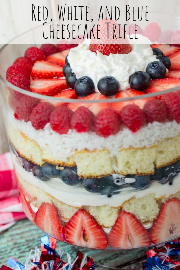 Red, White, and Blue Cheesecake Trifle