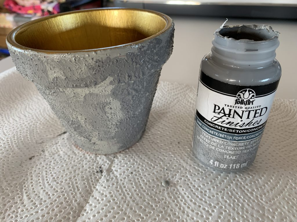 Faux Concrete and Gold Painted Pot