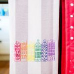 Rainbow Row Houses Tea Towel Embroidery
