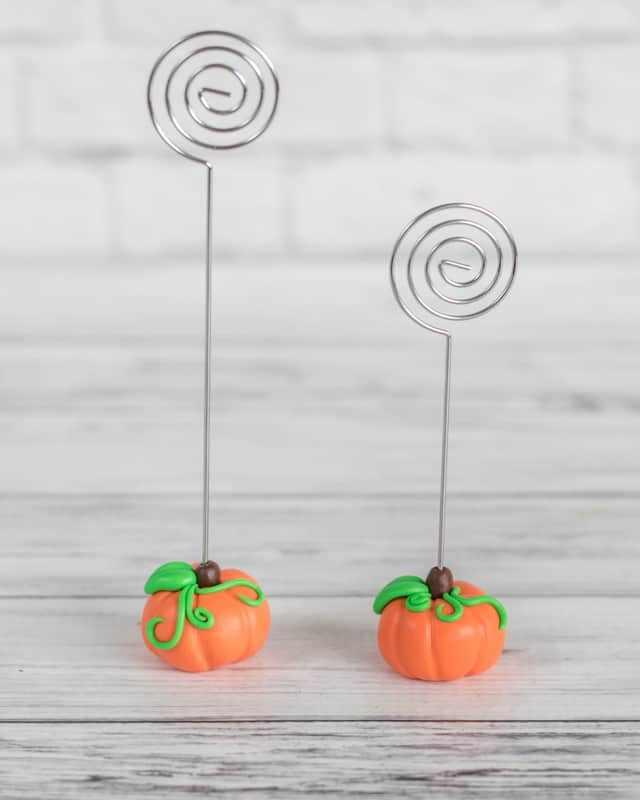 Polymer Clay Pumpkin Photo Holders