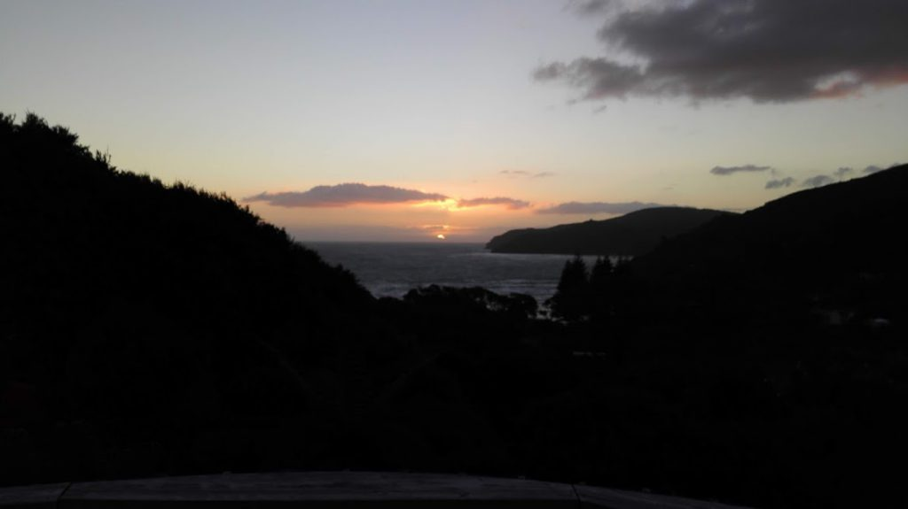 sunset on Great Barrier Island