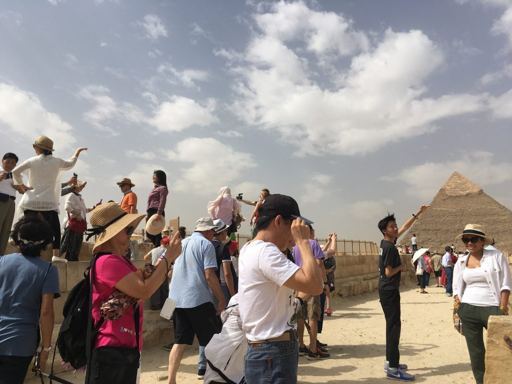 posing tourists